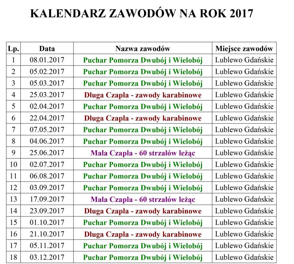 Kalendarz na rok 2017 SKS ARDEA